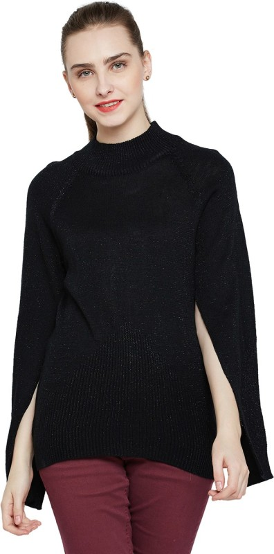 Marie Claire Solid Turtle Neck Casual Women Black Sweater