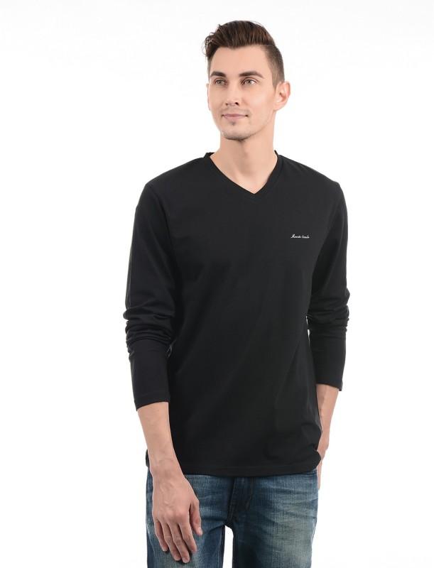 Monte Carlo Solid Men V-neck Black T-Shirt