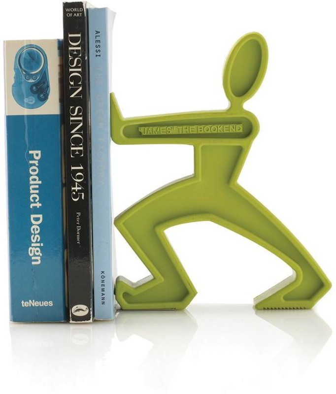 Bathline Studio James the Bookend Plastic Book End(Green, Pack of 1)