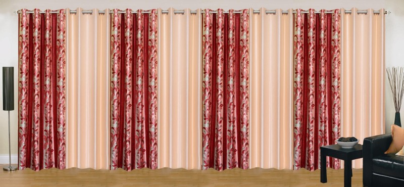 check MRP of maroon and cream curtains Ville Style