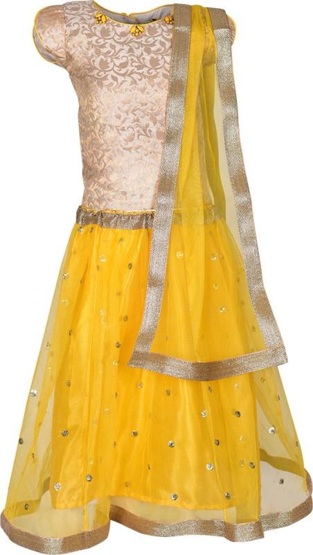 A Little Fable Girls Lehenga Choli Ethnic Wear Solid Lehenga, Choli and Dupatta Set(Yellow, Pack of 1)