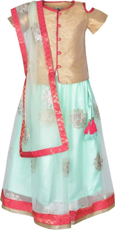 A Little Fable Girls Lehenga Choli Ethnic Wear Solid Lehenga, Choli and Dupatta Set(Light Green, Pack of 1)