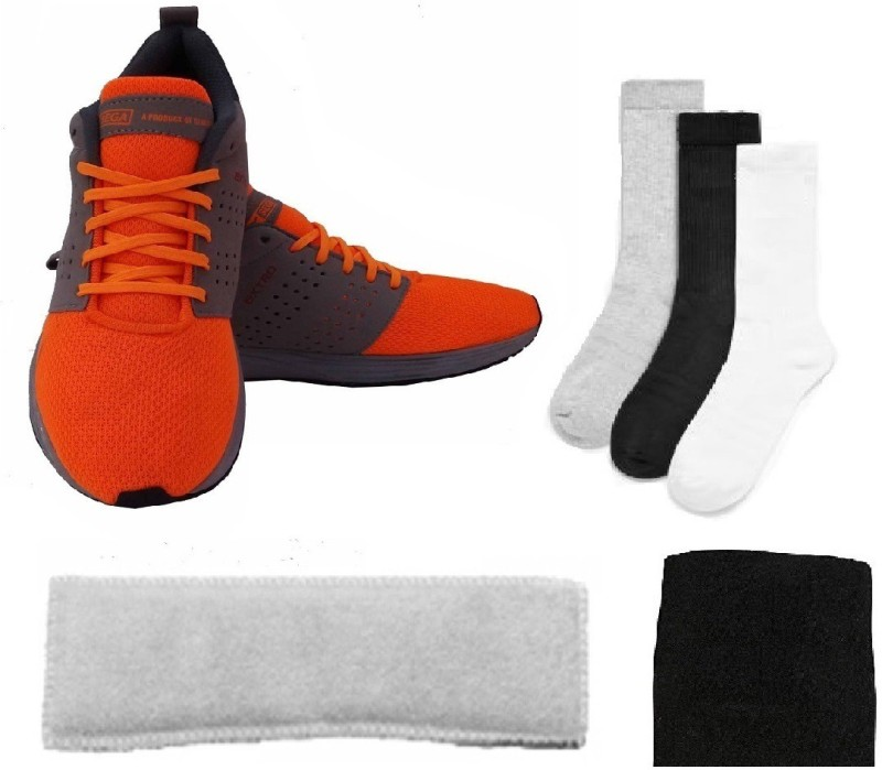 SEGA Combo of Four, One Pair of 'Extro' Shoes (Size-10), One Wrist Band and One Head Band and Three Pair of Socks (Color on availability)- Home Gym Kit
