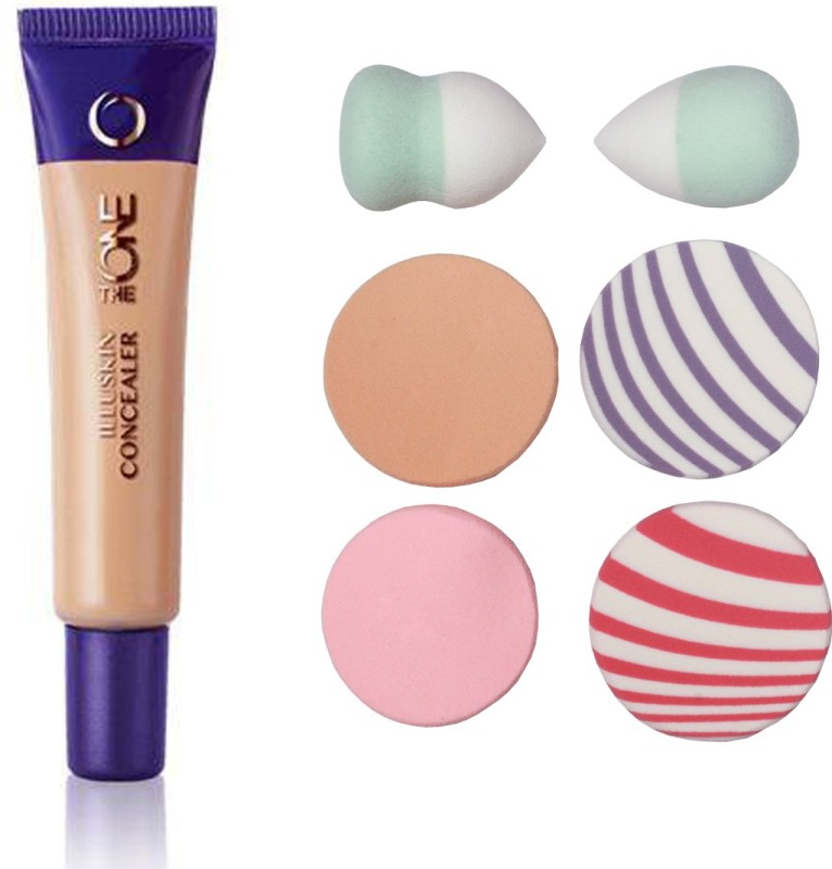Oriflame Sweden The ONE IlluSkin Concealer (Nude Beige - 30617) With Puff Sponge(Pack of 7)