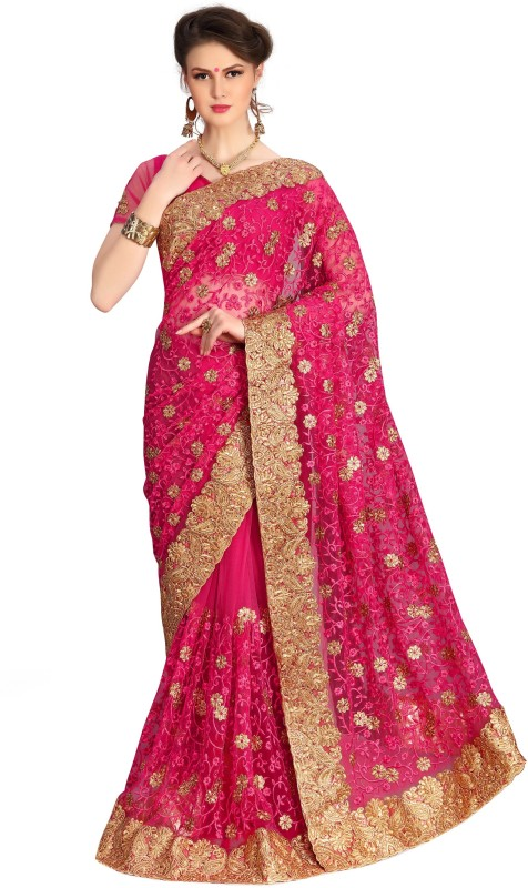 UJJWAL CREATION Embroidered Fashion Net Saree(Pink, Pink)