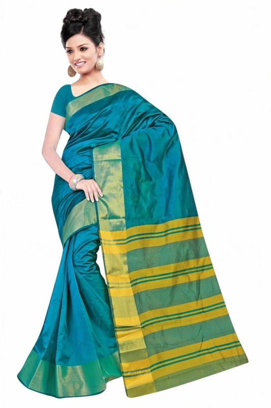 Reya Self Design Bhagalpuri Kota Silk Saree(Green)