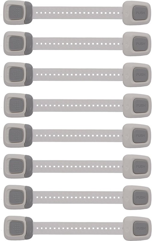 Store2508 Baby Safety Locks Child Safety Cabinet Locks Latches for Cabinet Drawers Appliances Toilet Seat Fridge and Oven Adjustable Strap and Latch System. (Pack of 8) Child Safety Latch Lock(Grey)