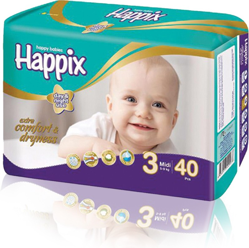 Happix Baby Medium Size Diapers 40pcs Pack - M(40 Pieces)