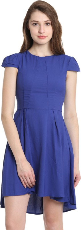 United Colors of Benetton Womens Fit and Flare Blue Dress