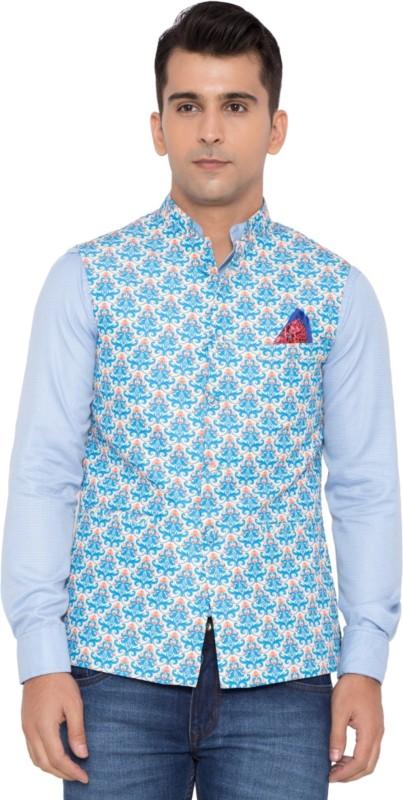 House Of Sensation Sleeveless Floral Print Mens Jacket