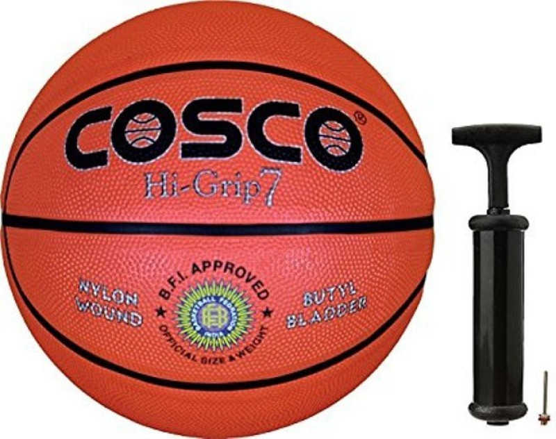 Cosco Hi-Grip Basketball with Hand Pump- Size 5 Basketball Kit