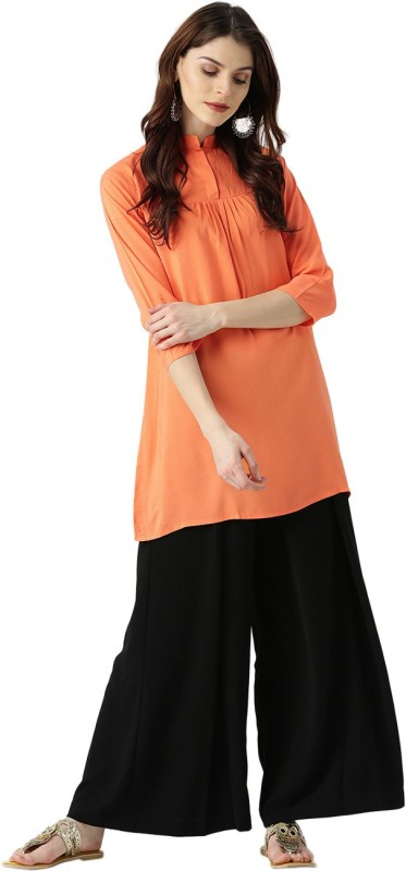 Libas Solid Women's A-line Kurta(Orange)