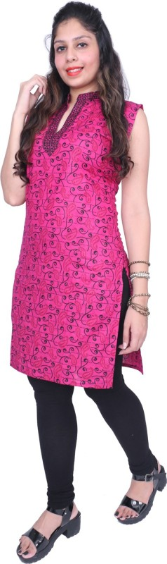 Thari Choice Women Printed Straight Kurta(Pink)