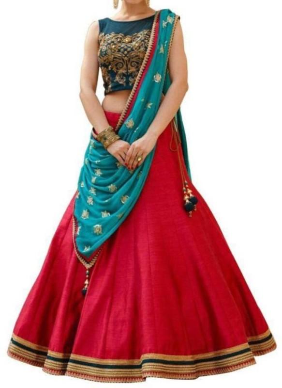 Omstar Fashion Embroidered Lehenga, Choli and Dupatta Set(Red, Blue)