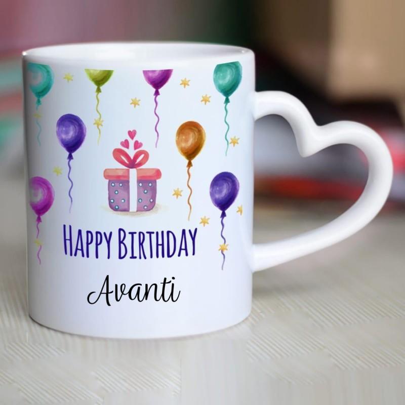 Chanakya Happy Birthday Avanti Heart Handle ceramic mug Ceramic Mug(350 ml)