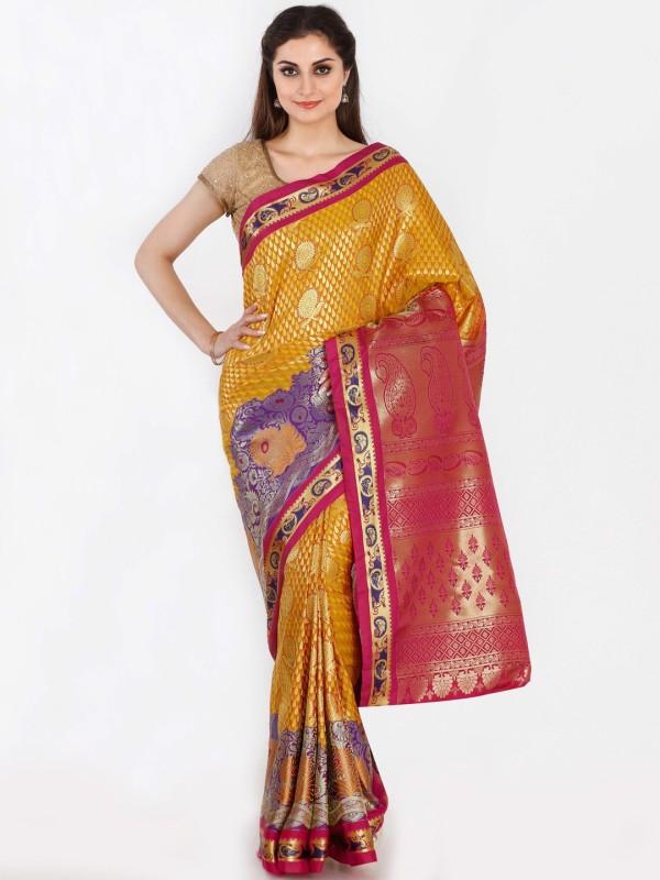 The Chennai Silks Woven Fashion Art Silk Saree(Yellow)