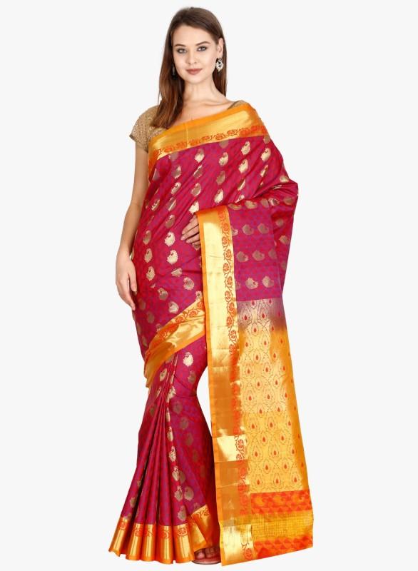 The Chennai Silks Woven Kanjivaram Silk Saree(Red)