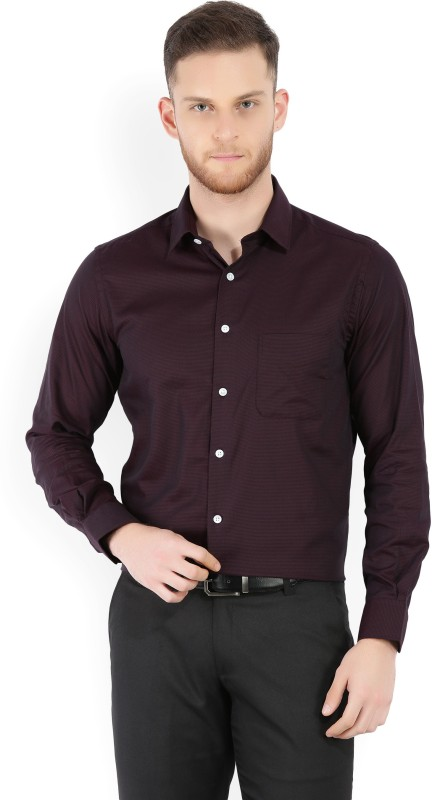 Peter England Mens Striped Formal Maroon Shirt