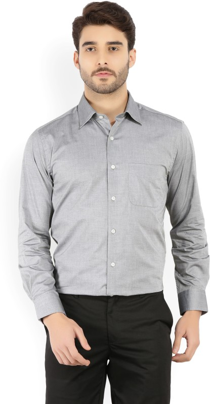 Peter England Mens Solid Formal Grey Shirt