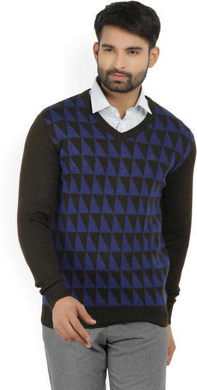 Louis Philippe Self Design V-neck Formal Mens Brown Sweater