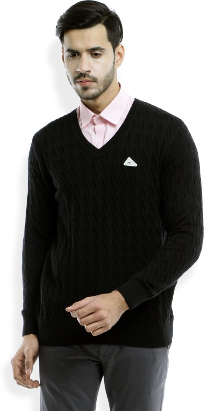 Monte Carlo Harringbone V-neck Casual Mens Black Sweater