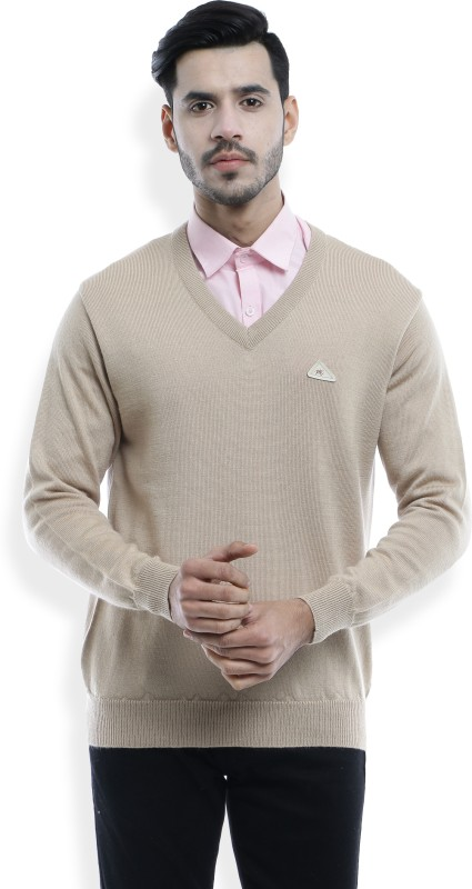 Monte Carlo Solid V-neck Formal Mens Beige Sweater