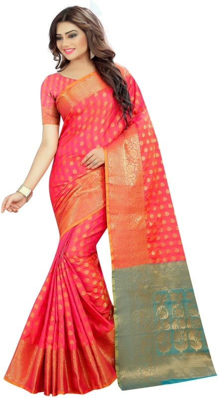 The Fashion Outlets Woven Kanjivaram Tussar Silk Saree(Pink)