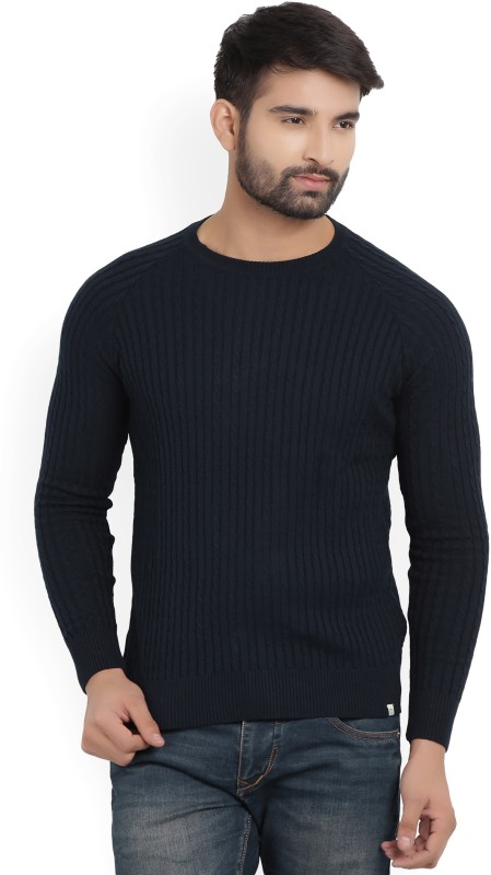 Numero Uno Self Design Round Neck Casual Mens Dark Blue Sweater