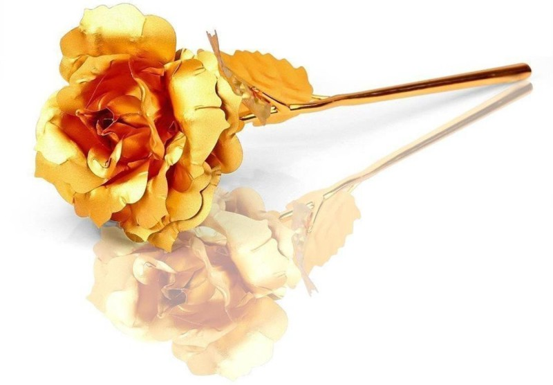 Splendid Golden Foil Rose Valentine Gift Showpiece (Gold Plated, Gold) Gold Rose Artificial Flower(25.5 inch, Pack of 1)