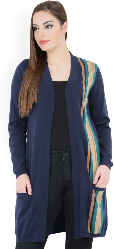 United Colors of Benetton Womens No Closure Striped Cardigan