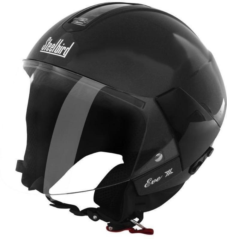Steelbird SB-33 Eve Dashing Open Face Helmet (Black) Motorbike Helmet(Black)