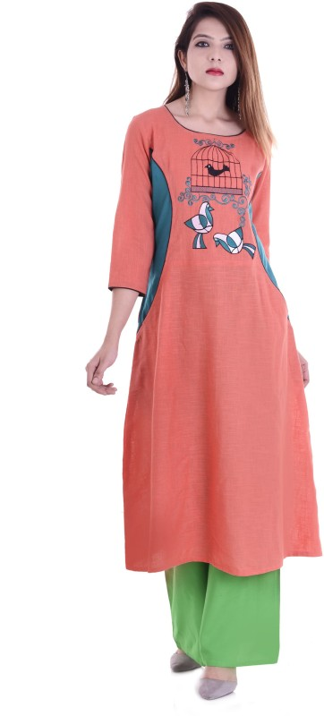 Style N Shades Embroidered Women A-line Kurta(Pink)