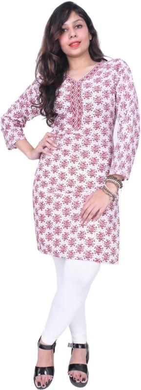 Thari Choice Women Floral Print Straight Kurta(Maroon)