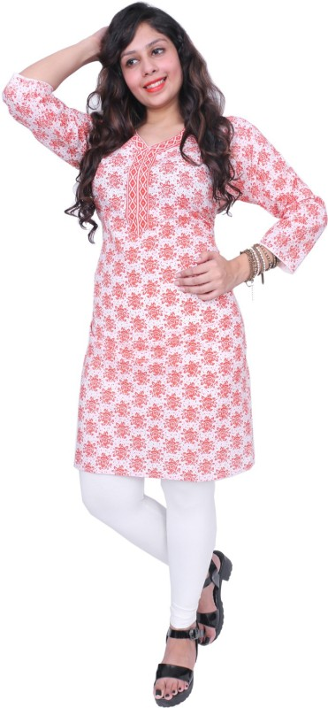 Thari Choice Women Floral Print Straight Kurta(Orange)