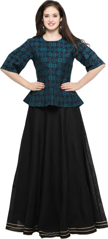Inddus Solid Semi Stitched Lehenga Choli(Black)