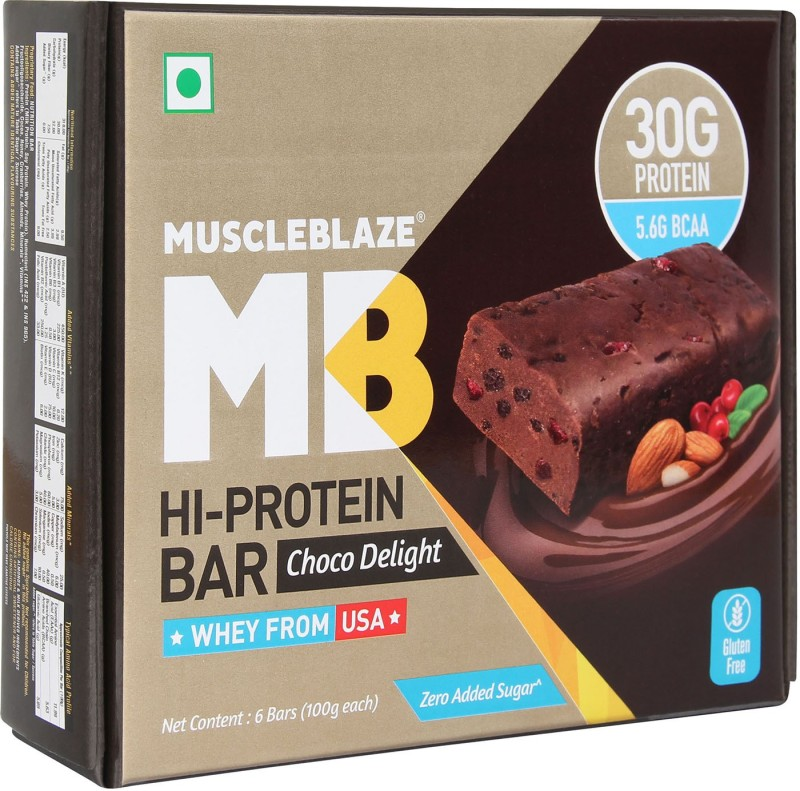 MuscleBlaze Hi Protein Bar with 30g Protein & Zero Added Sugar Protein Bars(100 g, Choco Delight)