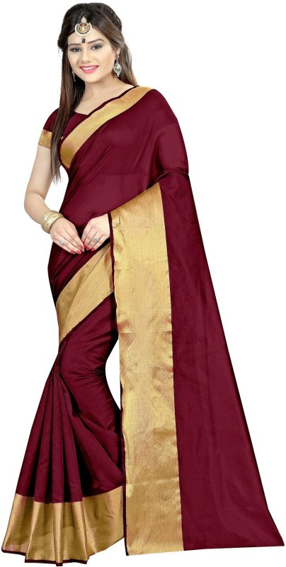 Zypara Floral Print Bollywood Handloom Cotton, Silk Saree(Maroon)