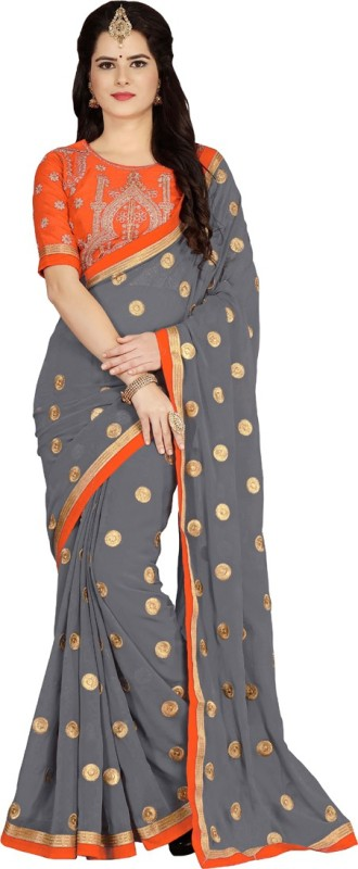 Vaidehi Fashion Embroidered Bollywood Georgette, Dupion Silk Saree(Grey, Orange)