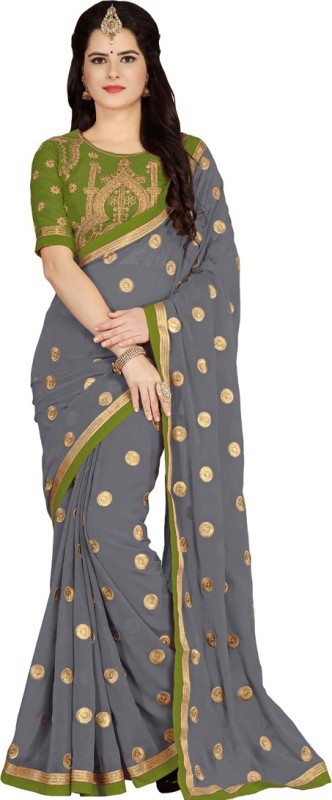 Vaidehi Fashion Embroidered Bollywood Georgette, Dupion Silk Saree(Grey, Green)