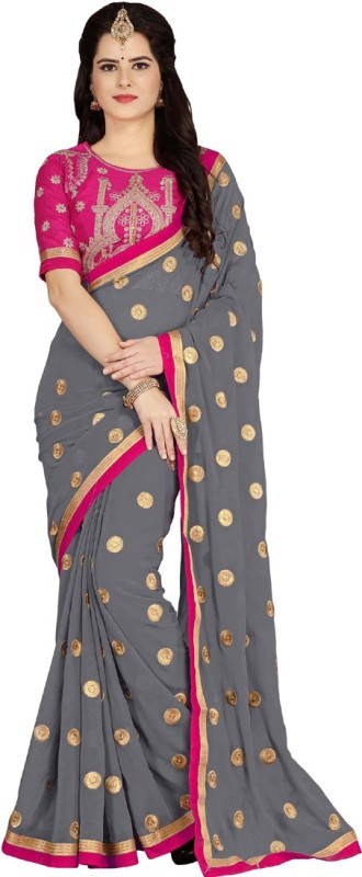 Vaidehi Fashion Embroidered Bollywood Georgette, Dupion Silk Saree(Grey, Pink)