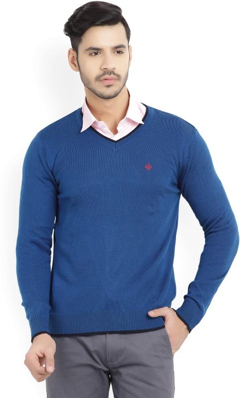 Numero Uno Solid V-neck Casual Mens Blue Sweater