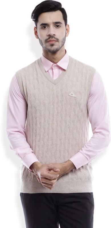 Monte Carlo Harringbone V-neck Casual Mens Beige Sweater
