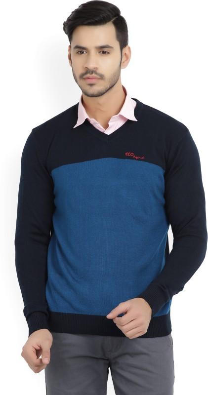 Numero Uno Solid V-neck Casual Mens Blue, Dark Blue Sweater