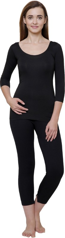 Ayaki Bodycare Black Solid Thermal Womens Top