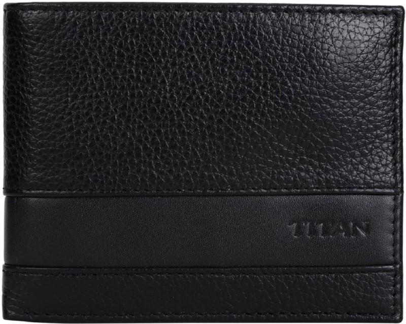 Titan Men Black Genuine Leather Wallet(2 Card Slots)