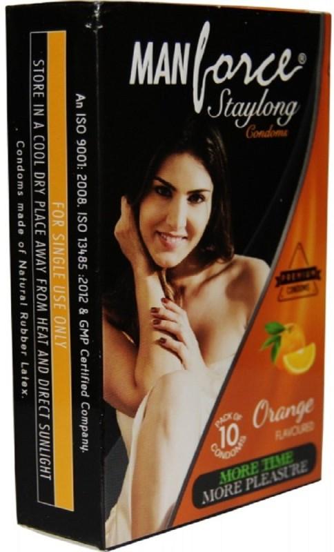 Manforce orange flavoured staylong condoms 10s Condom(Set of 10, 10S)