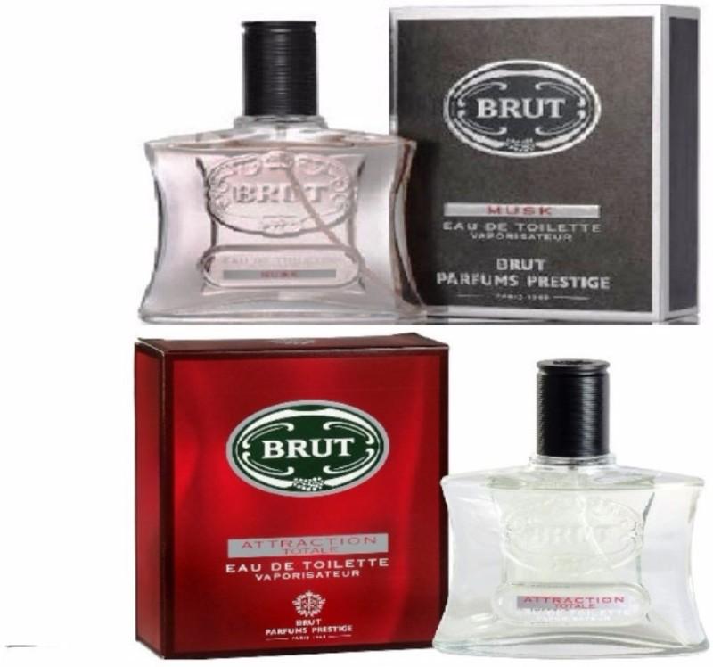 Brut Musk+Attraction Totale Eau De Toilette Parfums Deodorant Spray - For Men(200 ml, Pack of 2)