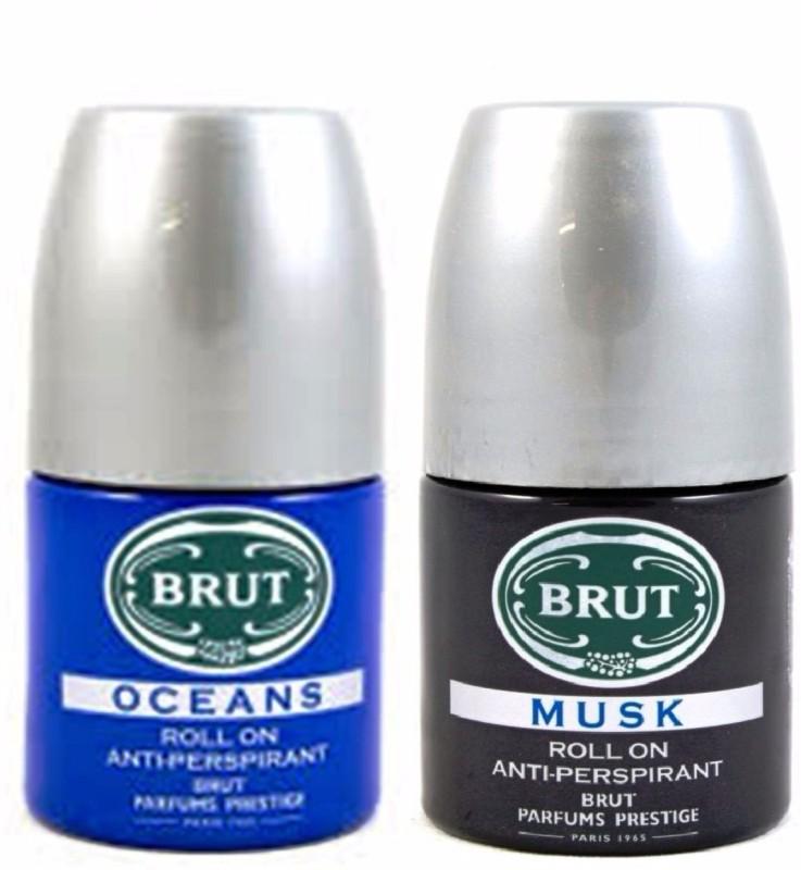 Brut Oceans+Musk Anti-Perspirant Roll On Deodorant Spray - For Men(50 ml, Pack of 2)