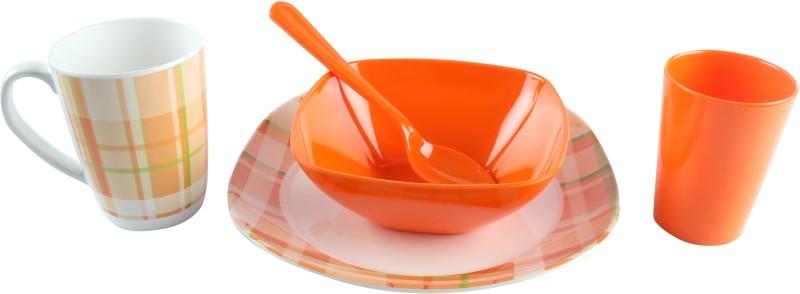 Ektra Melamine Breakfast Set Snacks Dinner set Tableware kitchen Plate Mug Bowl for Kids / Adults, 5-Piece, Orange Pack of 5 Dinner Set(Melamine)