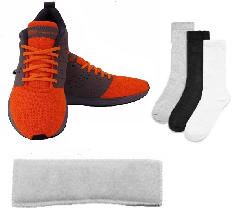 SEGA Combo of Three, One Pair of 'Extro' Shoes (Size-12), One Head Band and Three Pair of Socks (Color on availability)- Home Gym Kit